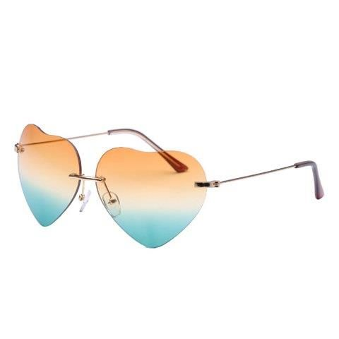 Chic Heart Shape Rimless Frame Sunglasses For Women Specials