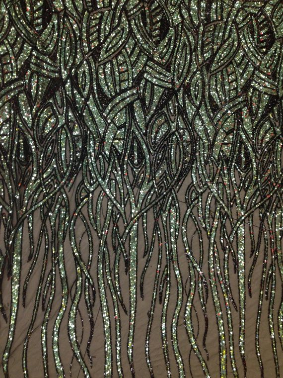 Green and black Sequin one black mesh embroidered lace fabric by the yard
