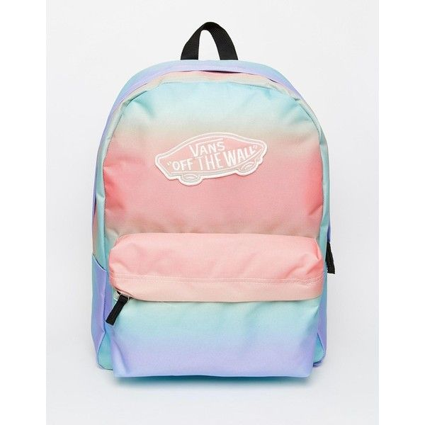 Vans Backpack in Pastel Ombre Stripe (1.105.435 VND) ❤ liked on Polyvore featuring bags, backpacks, multi, pink bag, backpacks bags, stripe bag, vans bag und pink backpack