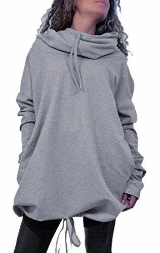 dcab201c2e52 XQS Womens Funnel Neck Hoodie Batwing Long Sleeve Pullover Sweatshirt