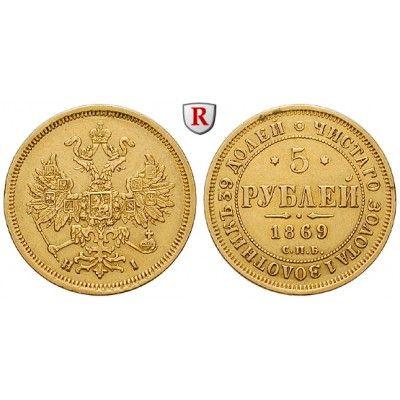 Russland, Alexander II., 5 Rubel 1869, 5,99 g fein, ss: Alexander II. 1855-1881. 5 Rubel 5,99 g fein, 1869 St. Petersburg. Friedb.… #coins