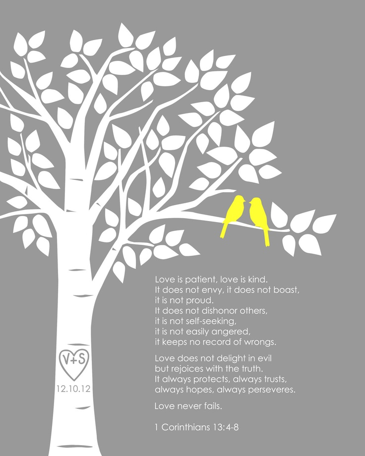 """Personalized Custom 1 Corinthians 13 Love Birds Family Tree - Wedding Gift or First Anniversary Paper Gift - 8""""x10"""" (Yellow/Gray). $18.00, via Etsy. love these--color combo to get: blue hazel and coral."""