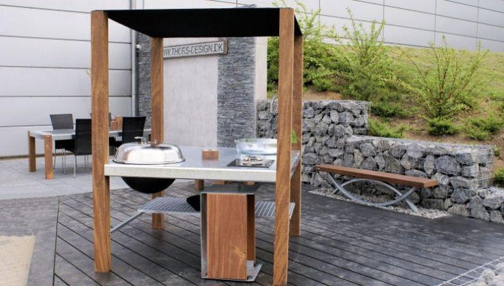 THORS Savra outdoor kitchen island with grill, gasburner and sink #outdoorkitchen #outdoorliving #luxurylife