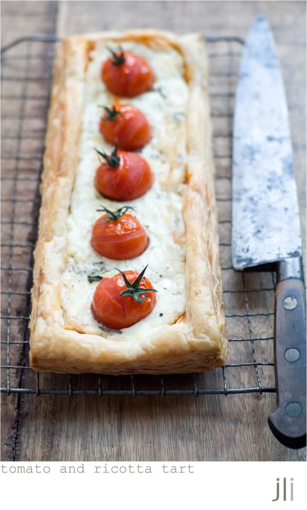 cherry tomato and ricotta tarts