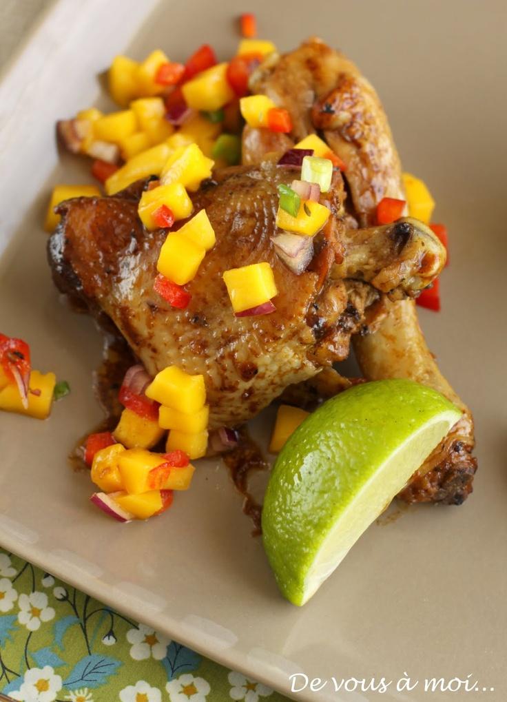 De vous à moi...: Poulet Mariné à la Jamaïcaine (Jerk Chicken), Salsa de Mangue