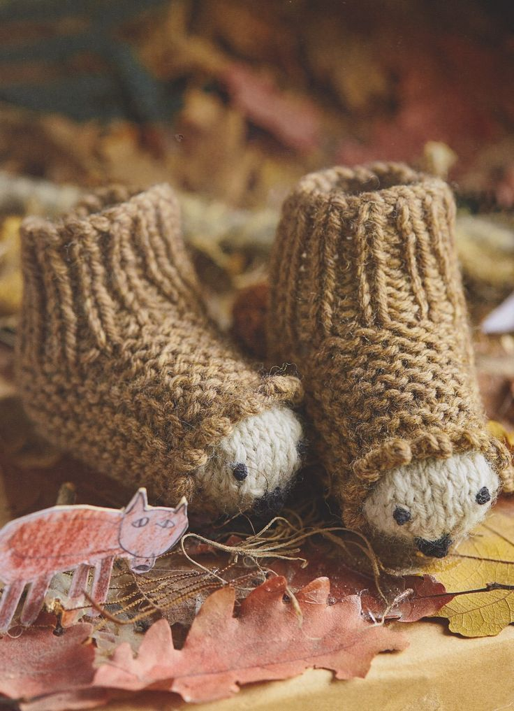 Hedgehog baby booties from my book, Knitted Animal Nursery, 2017