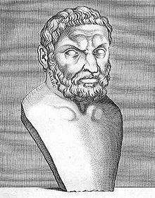 """Thales of Miletus (c. 624 – 546 BCE). Of the Milesian school and one of the Seven Sages of Greece. Many, most notably Aristotle, regard him as the first philosopher in the Greek tradition. According to Bertrand Russell, """"Western philosophy begins with Thales."""" He believed that all was made of water."""