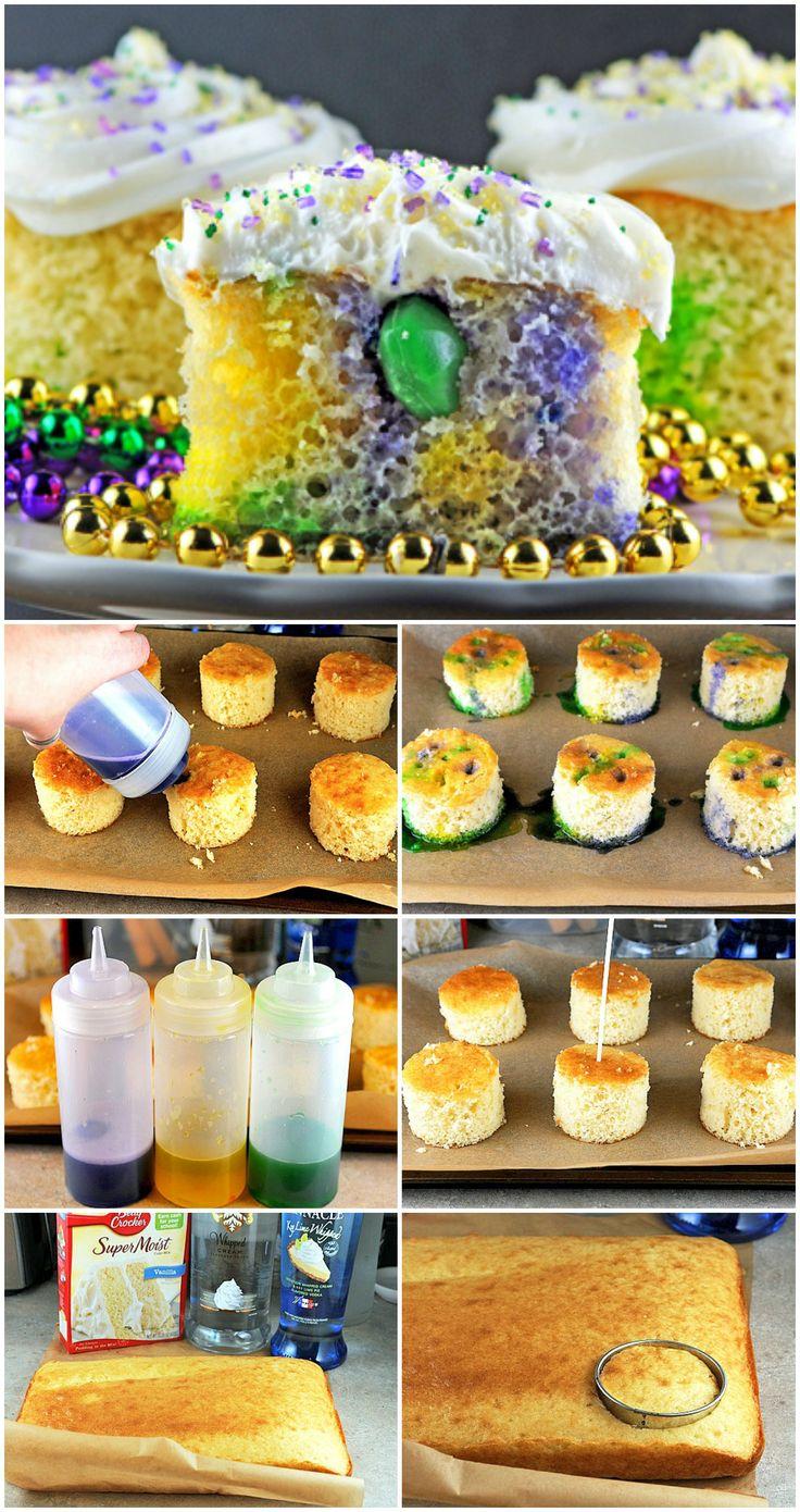 Mini Boozy King Cakes #MardiGras // wonder if @Cupprimo Cupcakery Cupcakery Cupcakery Cupcakery will make some of these?