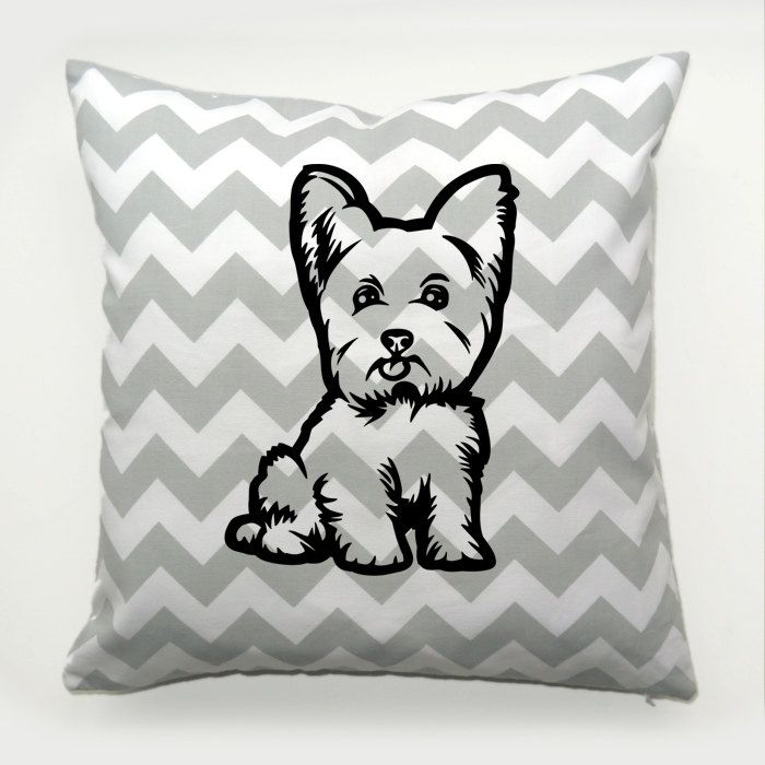Yorkie Pillow, Yorkshire Terrier Dog Chevron Decorative Cushion, Yorkie Puppy Pillow in zigzags, Psiakrew by PSIAKREW on Etsy