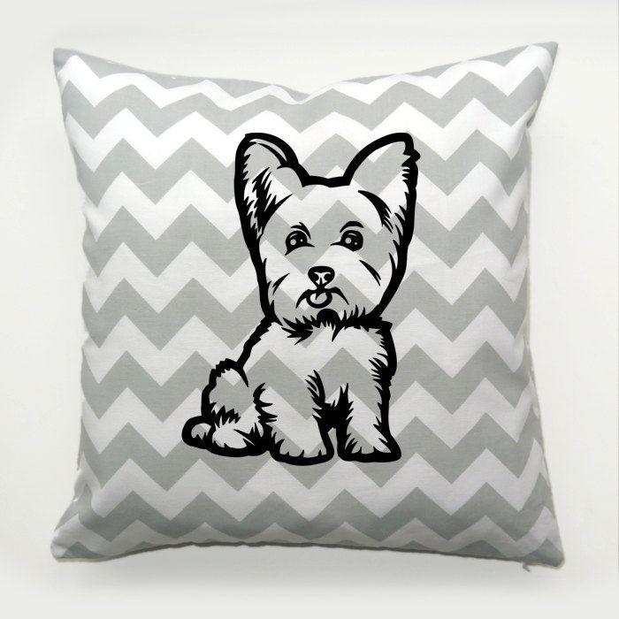 Yorkie Pillow, Yorkshire Terrier Dog Chevron Decorative Cushion, Yorkie Puppy Pillow in zigzags, Psiakrew by PSIAKREW on Etsy
