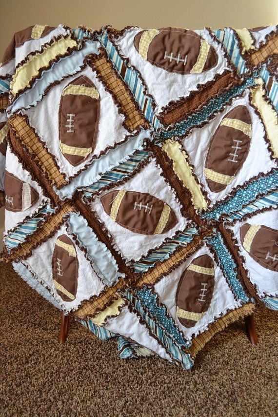RAG QUILT Football Applique Sports Custom by avisiontoremember