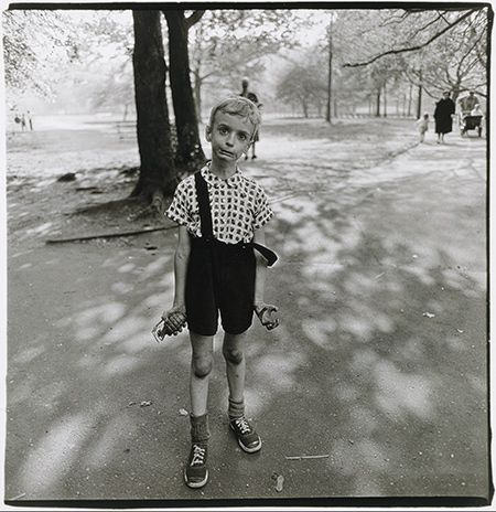 Diane Arbus (American, 1923–1971) was renowned for her black and white photography, shot often on square medium format cameras. She documented the people on the margins on life. Her work is as beautiful as it is controversial. (Image: Child with Toy Hand Grenade, 1962)