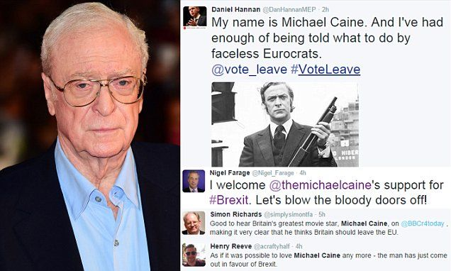 """Michael Caine urges Britain to leave the EU""...Flowless ! Why the star ? Becose he is BRITISH actor , not holly woo . Dame Judy Dench went through WHOLE Shakepsreare BEFORE her M...Dear Lord , the Youth of the Winter Tales this season , Marvelous !"