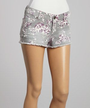 Gray Floral Cutoff Shorts by Select Brands