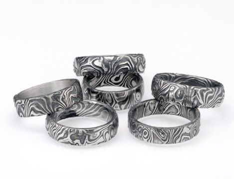 NEW from James Binnion Metal Arts dramatic and unique Blackened Stainless Steel men's wedding bands