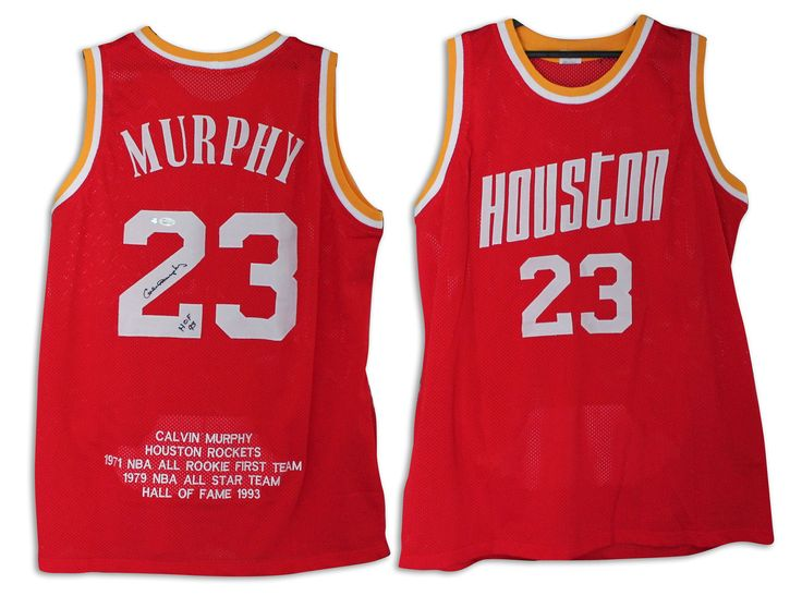 Calvin Murphy Houston Rockets Autographed Red Jersey with Embroidered Stats  and Inscribed