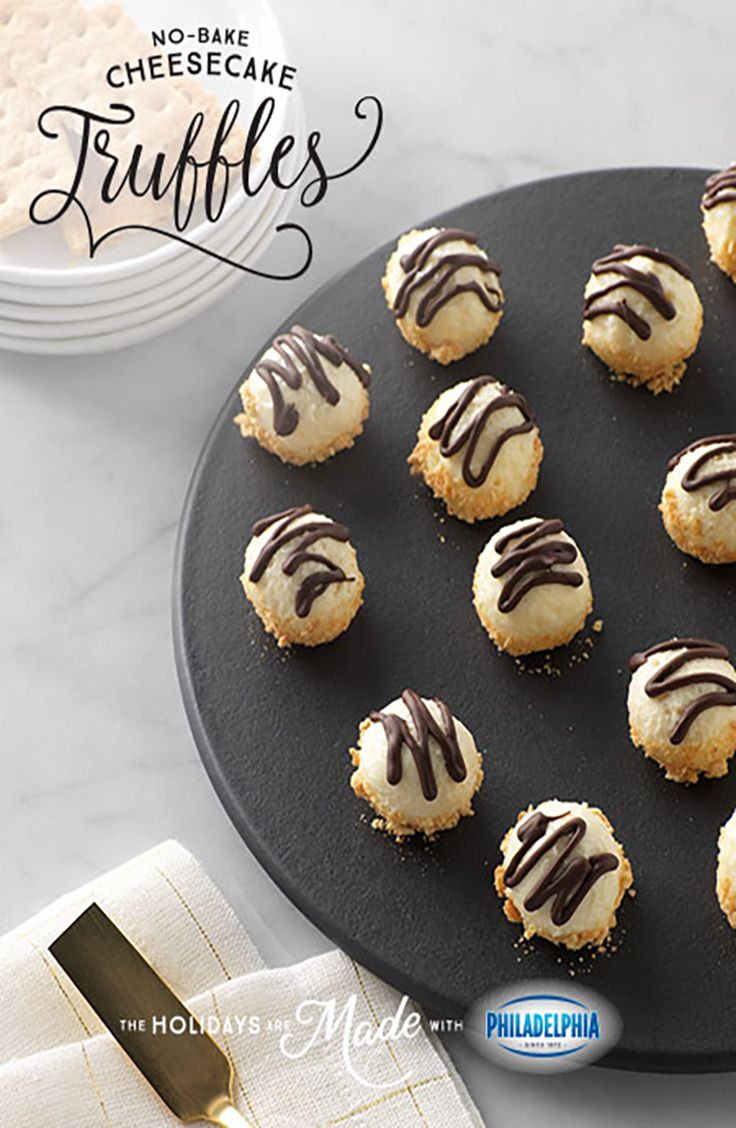 Cheesecake has never been easier than these No-Bake Mini cheesecake Truffle Bites, made with PHILADELPHIA Cream Cheese, powdered sugar, vanilla, graham crackers, and BAKER'S Semi-Sweet Chocolate.
