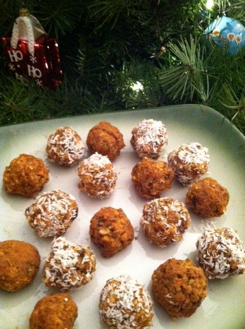 carrot cake balls. Doubled carrots, reduced almonds to 1/4 cup, added walnuts instead of pecans