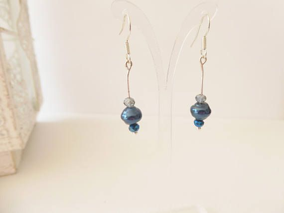 Glass earrings Blue earrings Drop earrings