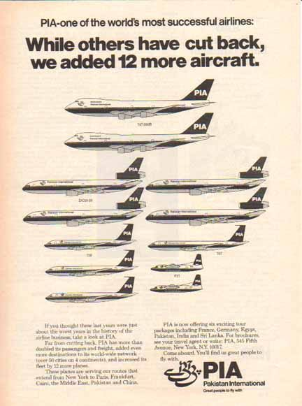 PIA Pakistan International Airlines 1977 Ad - 12 more Planes