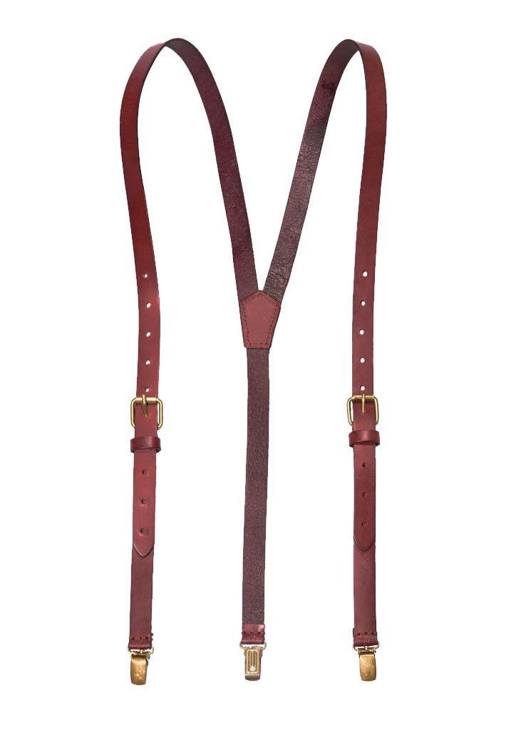 Genuine Leather Suspenders / Groomsman Wedding Suspenders in Coffee