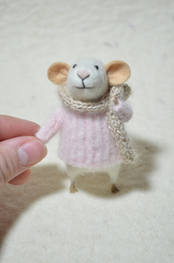 handmade, little mouse in a pink sweater...made by feltingdreams    ...Etsy.com