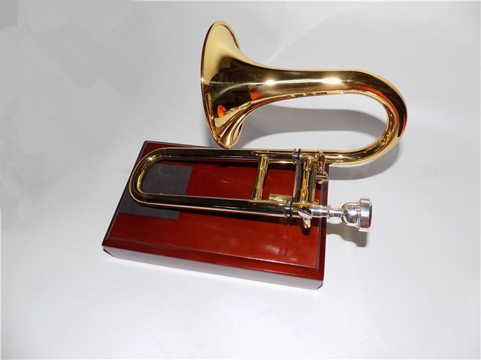 BbA Soprano Slide trumpet with stand Brass Body Lacquer Finish wind musical instruments OEM Wholesale Free shipping