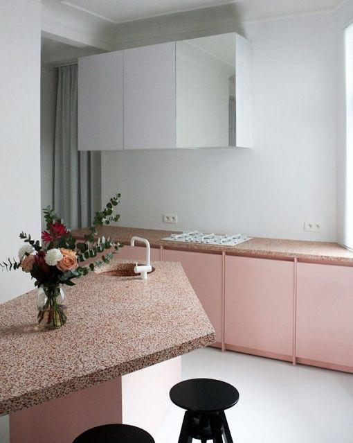 Futuristic pink kitchen
