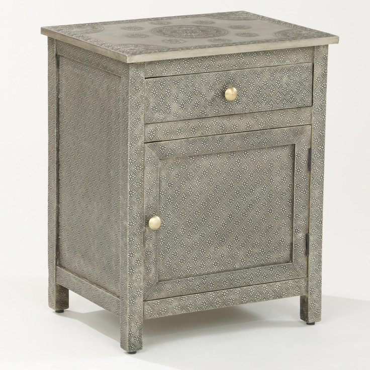 embossed metal nightstand kiran embossed metal cabinet world market 229 arden 983