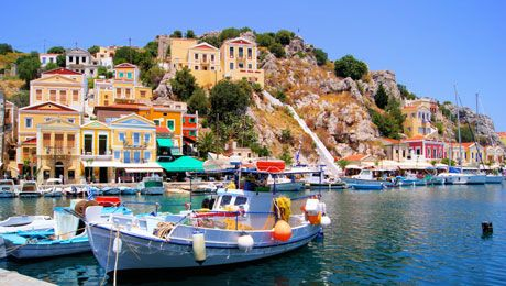 Fish boat in the port of Symi island  www.callgreece.gr