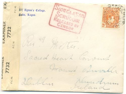 #Ireland #postalhistory #philately #stamps #censored #cover from #Nigeria to #Ireland 1942