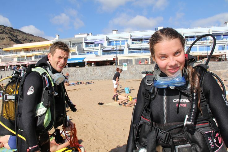 My baby´s first dive with excellent care of the Canary Diving Adventures in Mogan.