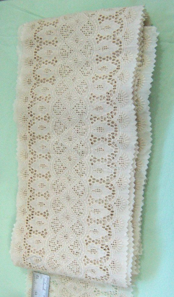 """1 YARD  #Vintage #Cutwork #Embroidery Lace Trim 6.5"""" wide by RoseAltheasNook on #Etsy"""