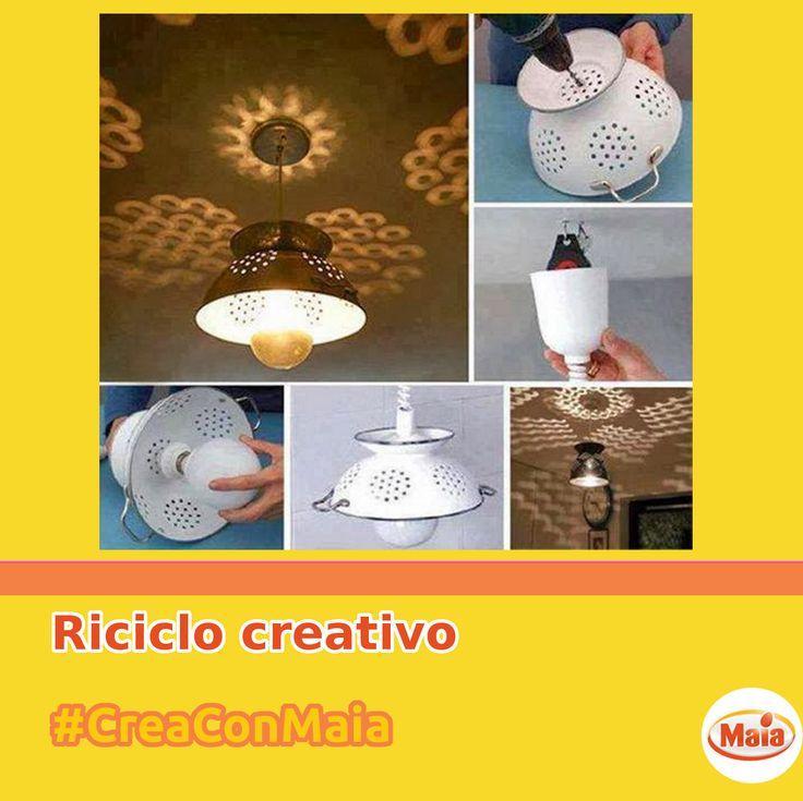 #CreaConMaia Riciclo creativo in cucina! Questi lampadari sono bellissimi e unici!