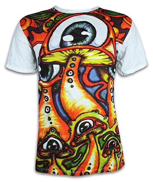 SURE Herren T-Shirt Magische Zauber-Pilze Magic Mushrooms Goa Psychedelic Art LSD Party (Weiss M)
