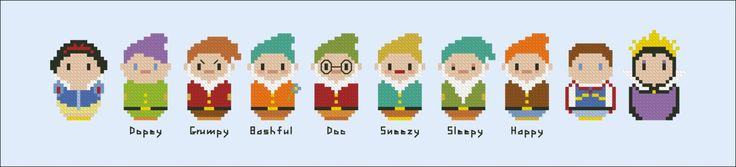 Snow White and the Seven Dwarfs - Mini People - Pattern by CloudsFactory