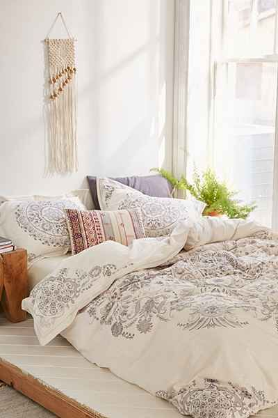 Soft cotton duvet cover in a pretty allover design we love. Medallion motif with floral detailing. Perfect for a femme update to your bedding