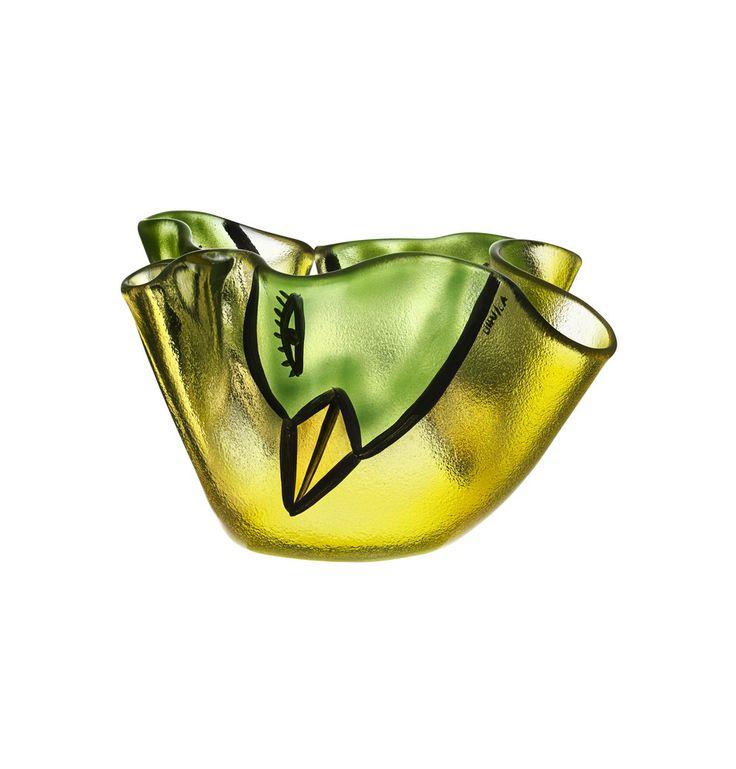 Happy Going bowl yellow, design by Ulrica Hydman Vallien for Kosta Boda