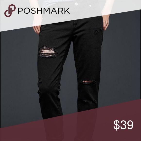 Girlfriend ripped jeans GAP black girlfriend ripped jeans. New with tags GAP Jeans Boyfriend