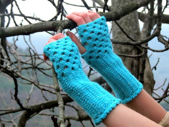 Knitted Fingerless Gloves Mittens turquoise Arm by EmofoFashion, $22.00