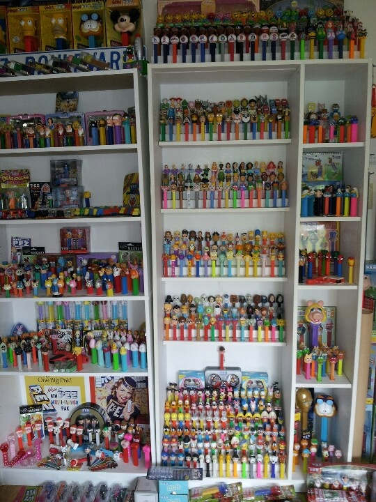 My boyfriend's PEZ collection. That's our living room!