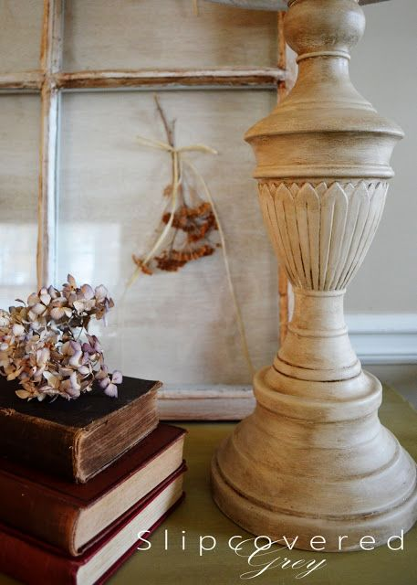 """I found an old brass lamp in the garage. This is going to be a fun Pinterest project!  Just paint Annie Sloan """"Old White"""" on the body, then apply Annie Sloan dark wax."""