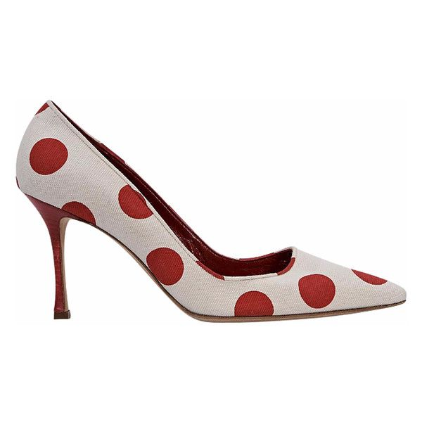 White & Red Manolo Blahnik Polka-dot Pumps ($205) ❤ liked on Polyvore featuring shoes, pumps, white pumps, pointy-toe pumps, canvas slip on shoes, red stilettos and red pointed toe pumps