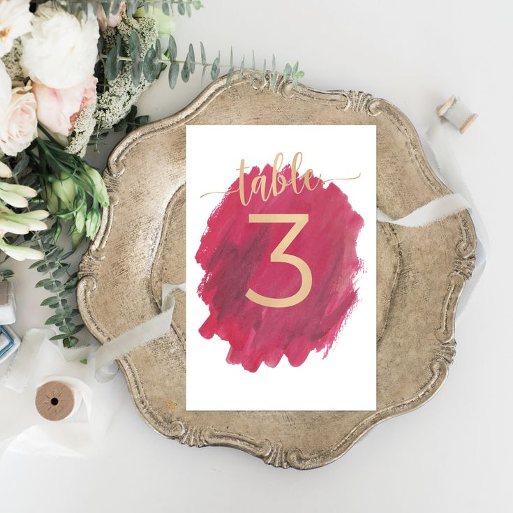 Printable Wedding Table Numbers - Dye Watercolor Burgundy Wedding Boho - Elegant Wedding Set - Calligraphy Wedding Maroon Faux Gold Foil by OnionSisterCreative on Etsy