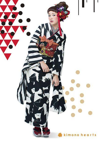 Kimono Hearts crow furisode