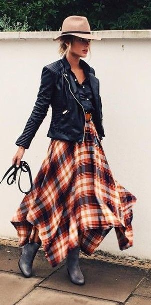 Fall fashion   Tartan vaporous dress with leather jacket and floppy hat