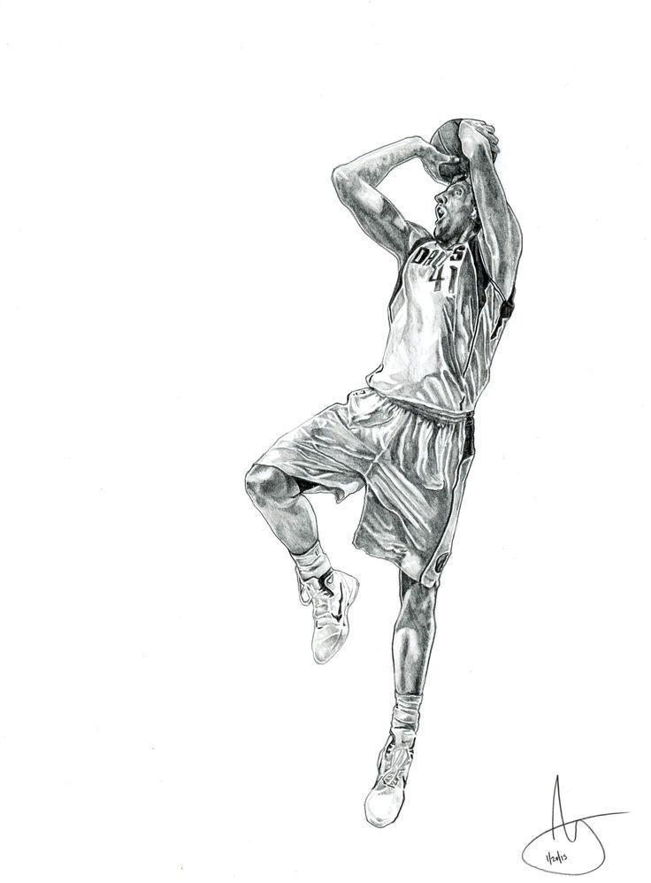"Dallas Mavericks Dirk Nowitzki 12""x 9"" Graphite on Tag Board www.JoshuaSooterArt.com https://www.facebook.com/JoshuaSooterArt"