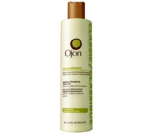 Ojon Volume Advance Hydrating Thickening Conditioner 8.5 fl oz by Ojon. $16.19. All hair types, especially fine, limp hair.. Lifts hair up, adds body throughout. Helps increase hydration and manageability, adding volume to flat hair.. Classic Hydrating Thickening Conditioner gives new life to limp hair.. With Pure Ojon Oil  Peruvian Amaranth. Classic Hydrating Thickening Conditioner gives new life to limp hair. For all hair types, especially fine, limp hair. Fortified with Ojon...