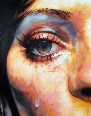 "Artist thomas saliot; Painting, ""As tears goes by"""