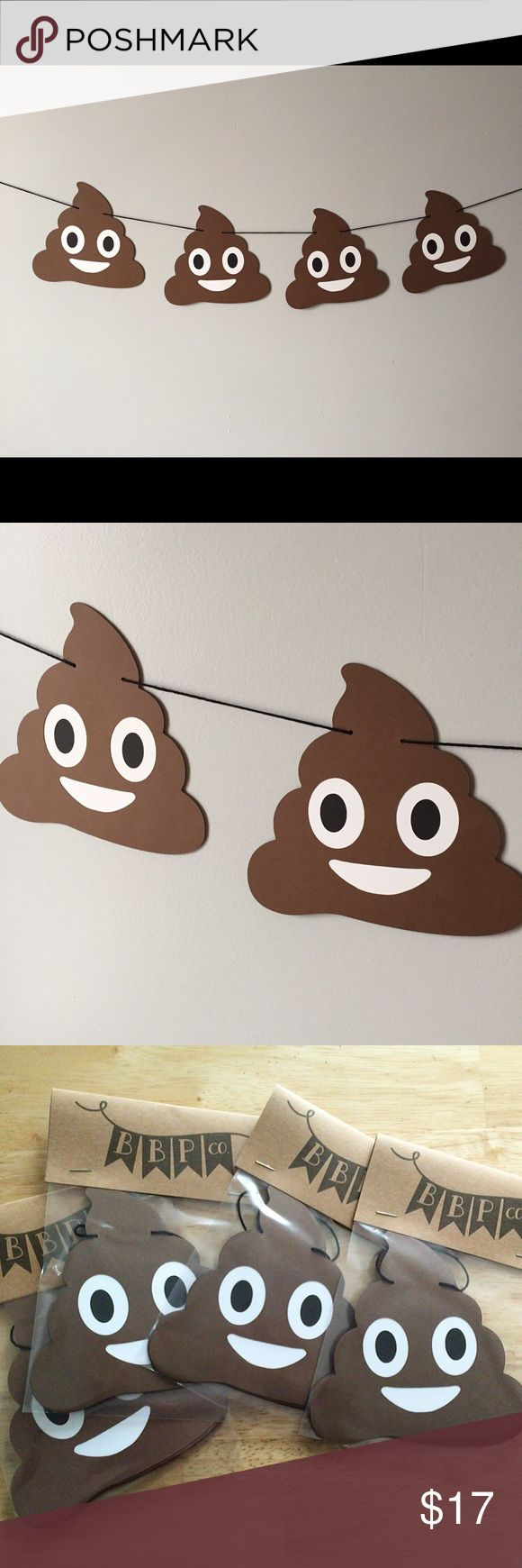 Poop Emoji Banner 4 4-inch emojis cut from heavyweight cardstock and strung on black twine Other